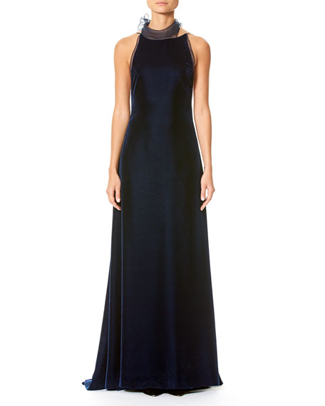 Carolina Herrera Velvet Open-Back Gown with Organza Bow,