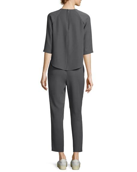 Techno Cady Raglan-Sleeve Two-Piece Jumpsuit, Gray