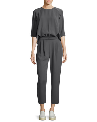 Techno Cady Raglan-Sleeve Two-Piece Jumpsuit, Gray