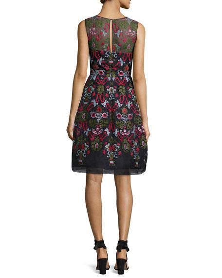 Cross-Stitch Full-Skirt Cocktail Dress, Blue