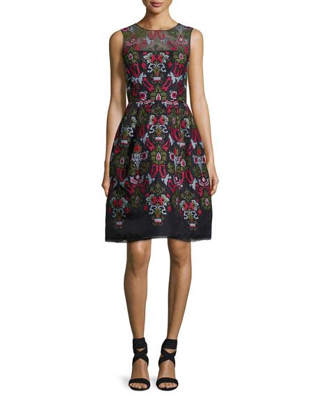 Oscar de la Renta Cross-Stitch Full-Skirt Cocktail Dress,