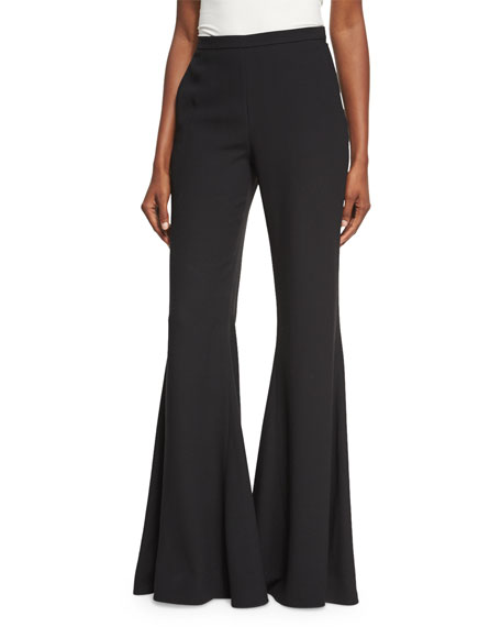 Rosetta Getty Flat-Front Flare-Leg Trousers, Black