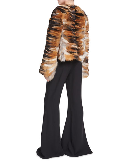 Bell-Sleeve Chubby Fox Fur Coat, Brown/Red