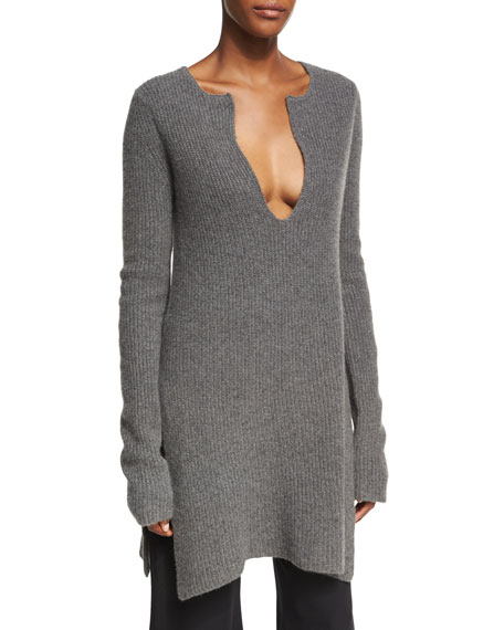 Ribbed Cashmere Side-Slit Tunic, Charcoal