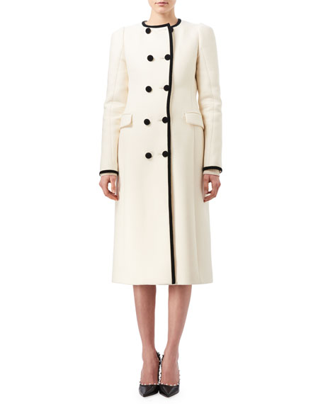 Altuzarra Bellasio Double-Breasted Coat with Contrast Velvet