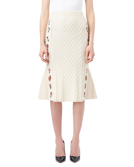 Altuzarra Letta Cable-Knit Midi Flounce Skirt with Floral