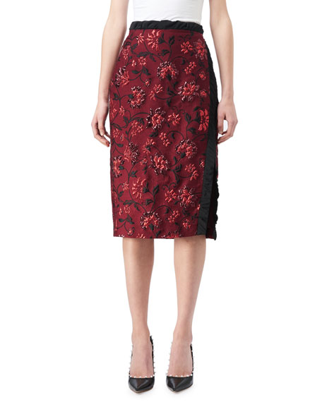 Altuzarra Sandrin Floral Jacquard Pencil Skirt, Red