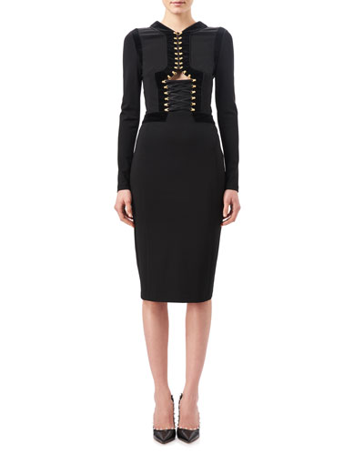 Antonia Corset Sheath Dress with Velvet Trim, Black