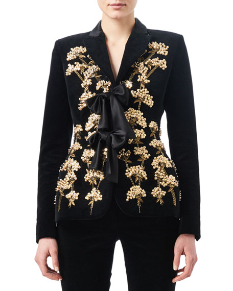 Angela Tree of Life Embroidered Jacket with Bow Ties, Black