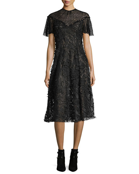 Prabal Gurung Wing-Sleeve Floral Lace Midi Dress, Black