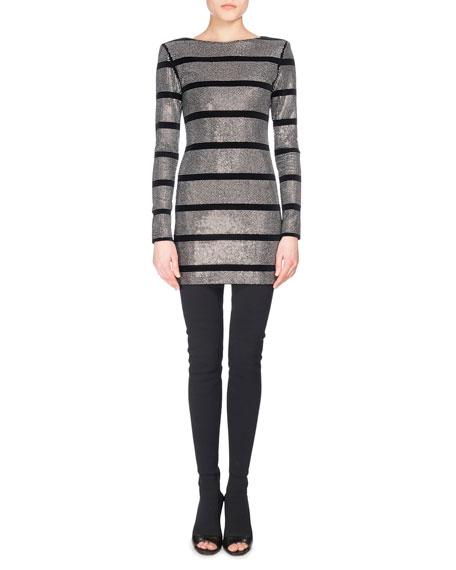 Striped Metallic Mini Dress, Black Pattern