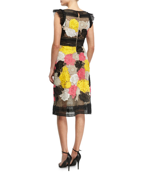 Floral Guipure Lace Sheath Dress, Multicolor