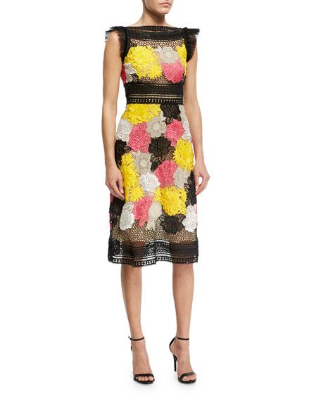 Naeem Khan Floral Guipure Lace Sheath Dress, Multicolor