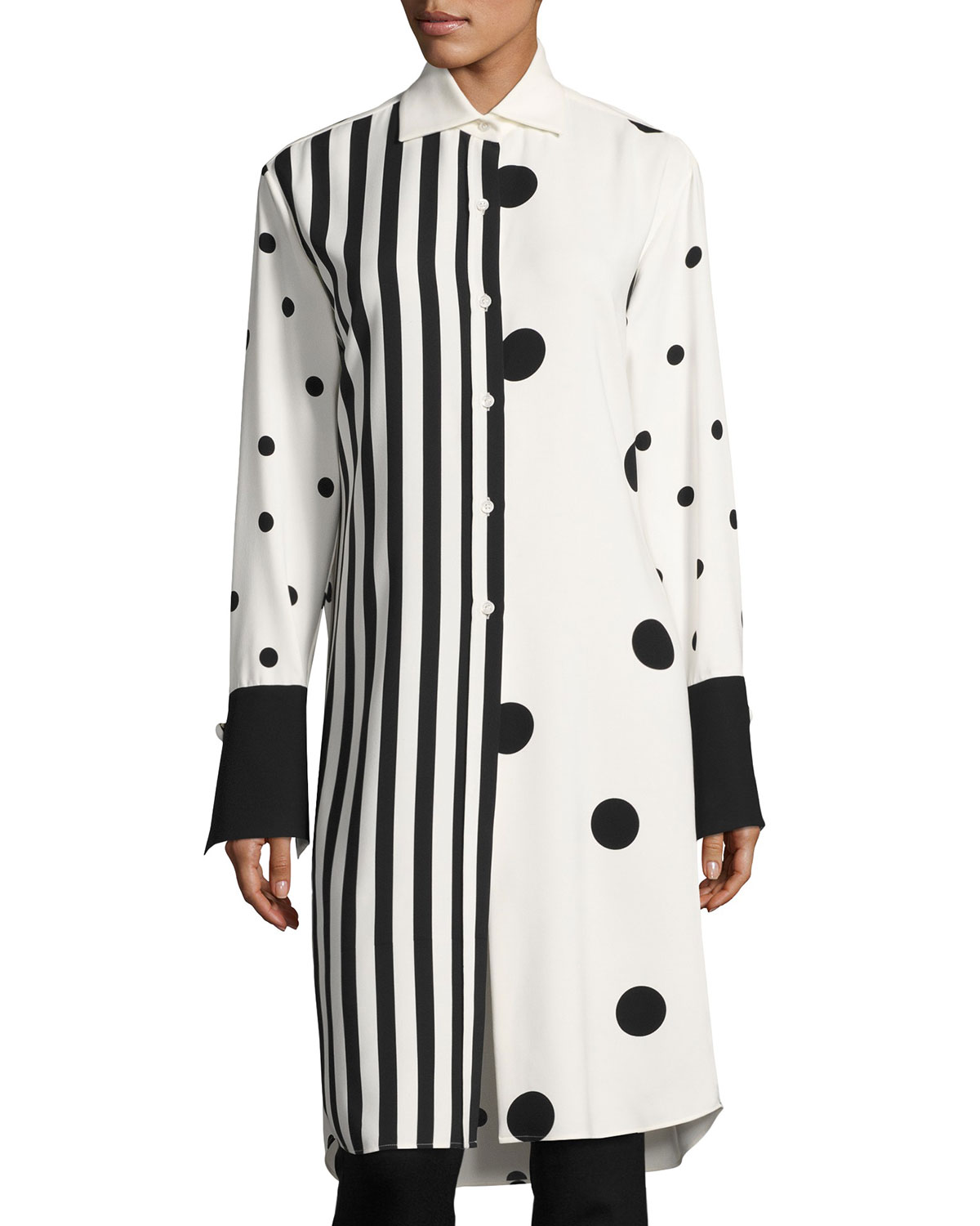 c7e4445a485b Monse Striped & Polka-Dot Long-Sleeve Tunic, White/Black | Neiman Marcus