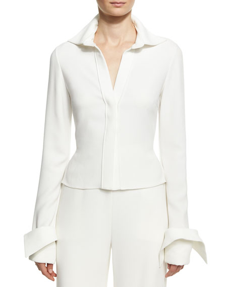 Brandon Maxwell Crepe Blouse with Wide Cuffs, Ivory