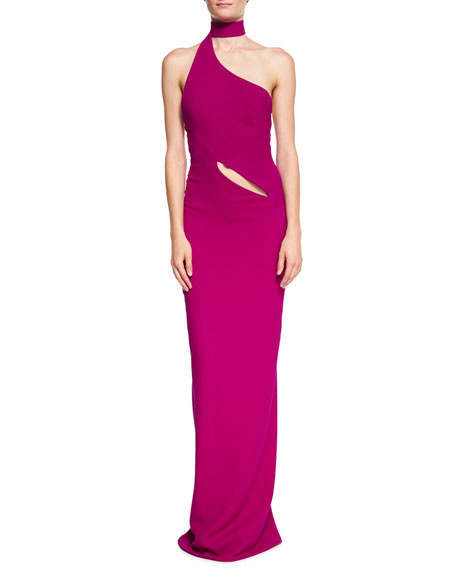 Brandon Maxwell Asymmetric Crepe Gown with Wrap Collar,