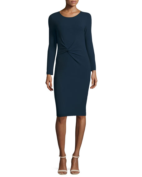 Armani Collezioni Pebbled Jersey Long-Sleeve Knot Dress, Royal