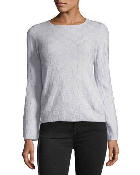 Crewneck Long-Sleeve Check Cashmere  Sweater