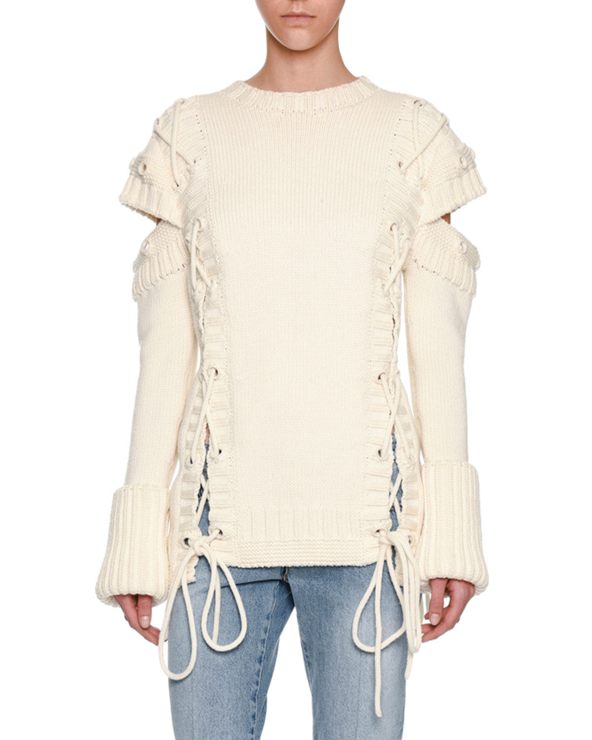 Alexander McQueen Chunky Lace-Up Detached-Sleeve Pullover  adf75960e