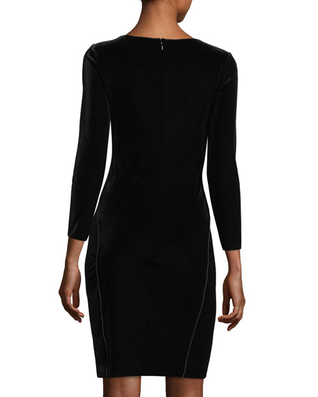 Ruched Stretch-Velvet Dress