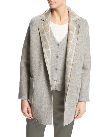 Jimi Reversible Plaid Flannel Mélange Jacket, Beige