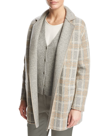Loro Piana Jimi Reversible Plaid Flannel Mélange Jacket,