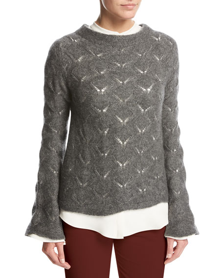 Convent Garden Lace Cashmere-Silk Sweater, Gray