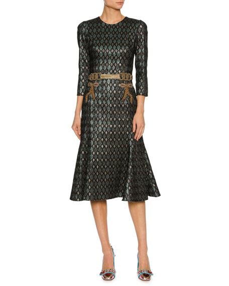 Dolce & Gabbana 3/4-Sleeve Geometric Jacquard Cocktail Dress