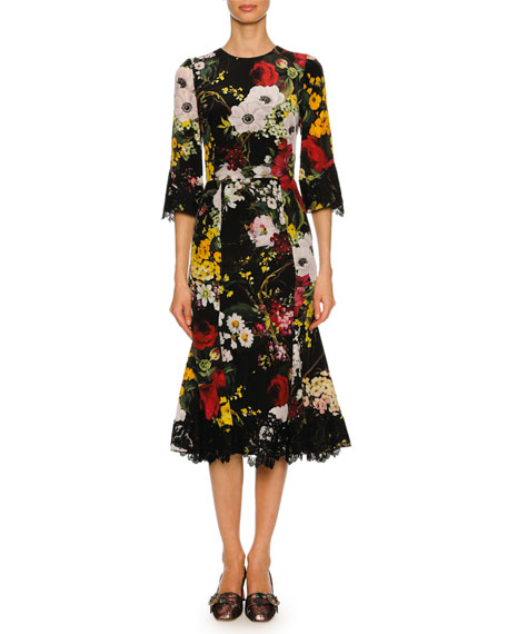 Dolce & Gabbana Bouquet-Print 1/2-Sleeve Cocktail Dress, Black