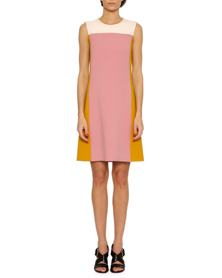 Bottega Veneta Colorblock Wool Shirt Dress, Multi