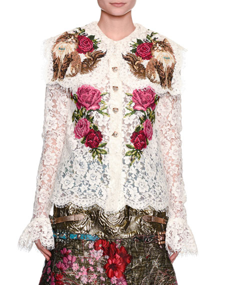Rose & Cat Embroidered Lace Shirt, White