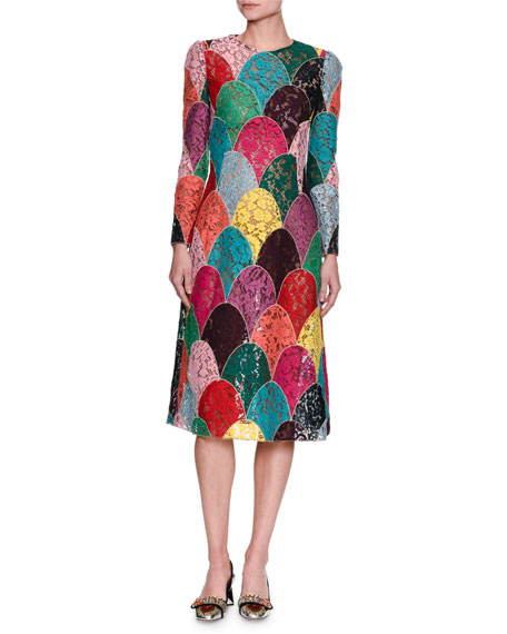 Long-Sleeve Patchwork Corded Lace Dress, Multicolor