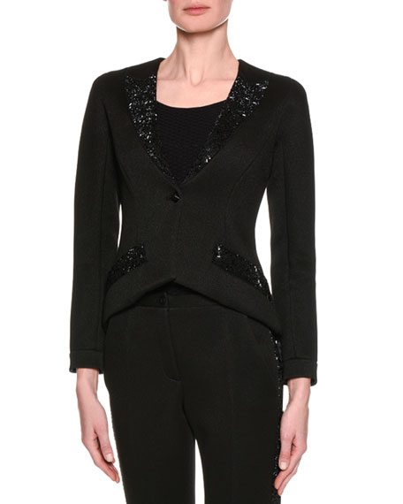 Giorgio Armani Swarovski-Embellished Jersey Jacket, Black and