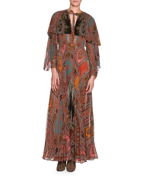 Etro Long-Sleeve Printed Plissé Silk Gown with Capelet,