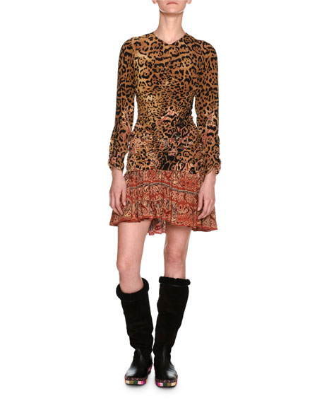 Etro Leopard & Paisley Ruched Long-Sleeve Minidress, Ivory
