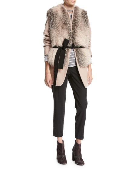 Mink Fur Vest with Grosgrain Belt