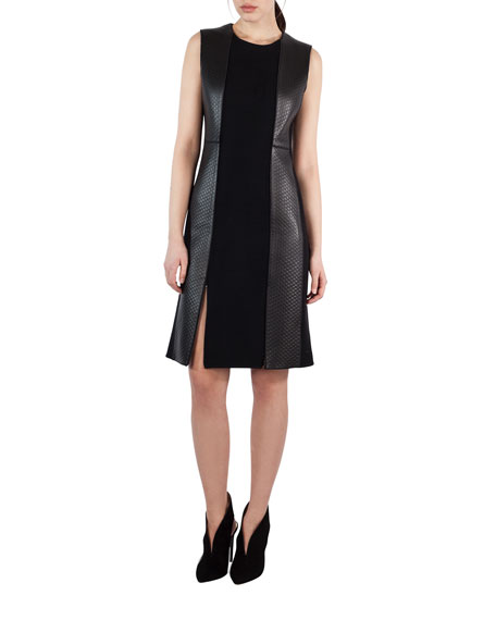 Akris Sleeveless Textured Wool & Leather Sheath Dress,