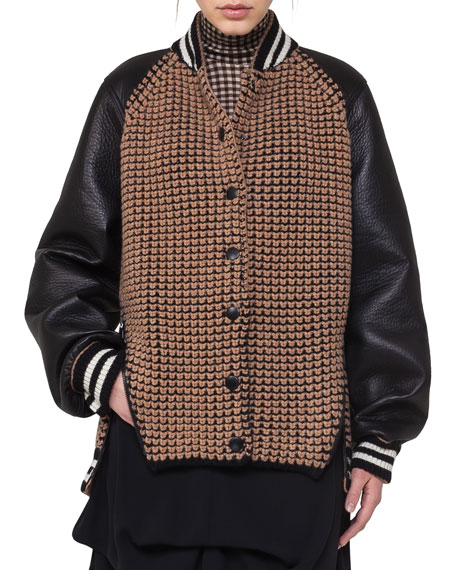 Akris Textured Oversized Bomber Jacket with Leather Sleeves,