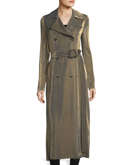 Akris Malano Metallic Jersey Trench Coat, Neutral