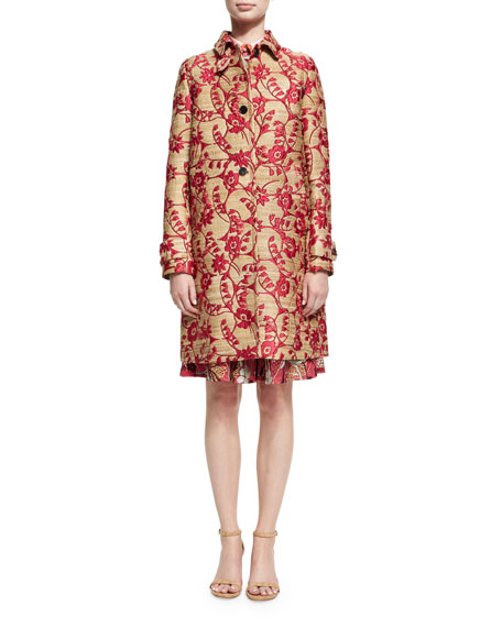 Floral Brocade Single-Breasted Coat, Pink/Gold