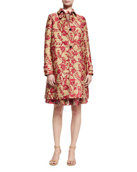 Valentino Lotus Guipure Lace Long-Sleeve Dress, Pink and