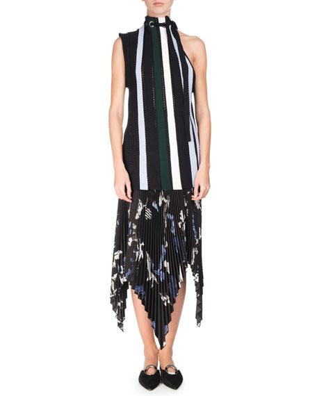 Collage Pleated Handkerchief-Hem Midi Skirt, Black/Pale Blue/White