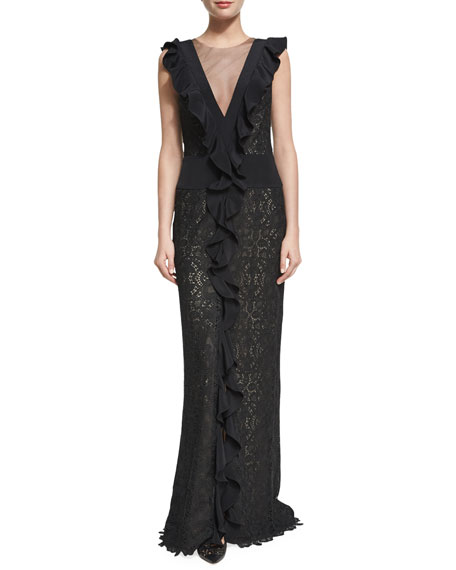 Monique Lhuillier Guipure Lace Illusion Ruffle Gown, Black
