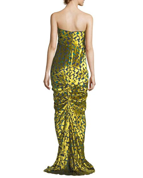 Strapless Velvet Chevron Gown, Yellow/Green