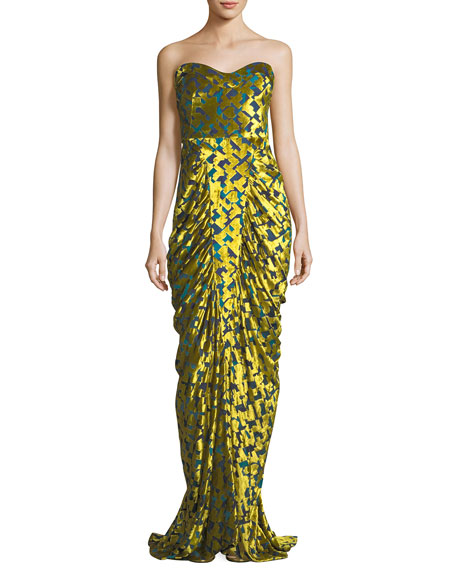 Carolina Herrera Strapless Velvet Chevron Gown, Yellow/Green