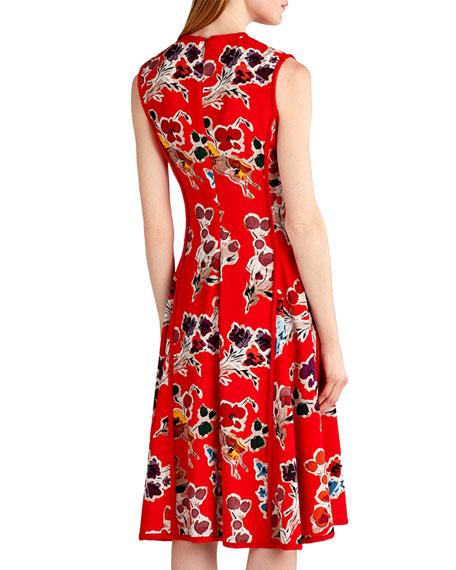Floral-Print Sleeveless Dress, Red