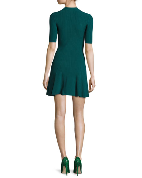 Frances Ribbed Fit & Flare Dress with Lacing