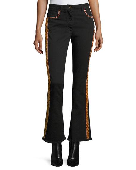 Etro Floral-Embroidered Kick-Flare Jeans with Fringe Hem, Black