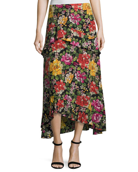 Floral-Embroidered High-Low Midi Skirt, Black Multi