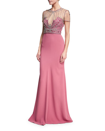 Beaded-Bodice Illusion Gown, Rosewood